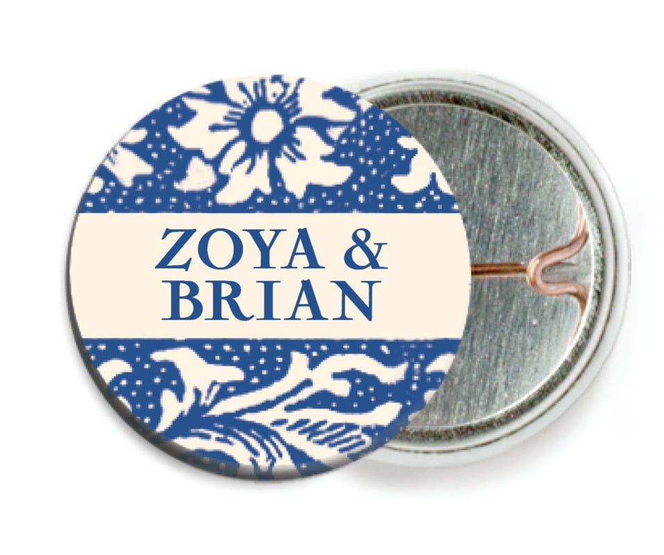 custom pin back buttons - deep blue - rococo spring (set of 6)