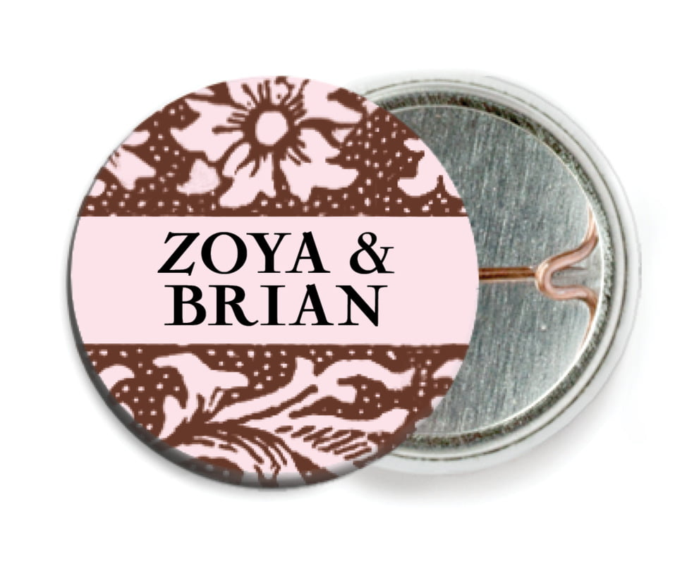 custom pin back buttons - cocoa & pink - rococo spring (set of 6)