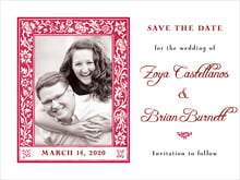 custom save-the-date cards - deep red - rococo spring (set of 10)