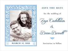 custom save-the-date cards - blue - rococo spring (set of 10)