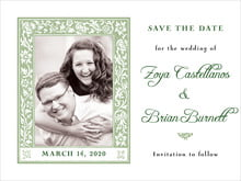 custom save-the-date cards - sage - rococo spring (set of 10)