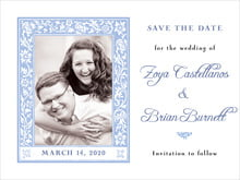 custom save-the-date cards - periwinkle - rococo spring (set of 10)