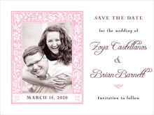 custom save-the-date cards - pale pink - rococo spring (set of 10)