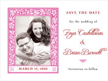 custom save-the-date cards - bright pink - rococo spring (set of 10)