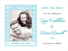 custom save-the-date cards - bahama blue - rococo spring (set of 10)
