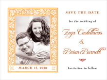 custom save-the-date cards - tangerine - rococo spring (set of 10)