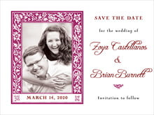 custom save-the-date cards - burgundy - rococo spring (set of 10)