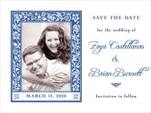 custom save-the-date cards - deep blue - rococo spring (set of 10)
