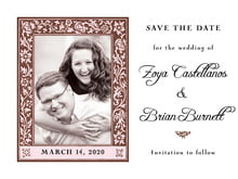 custom save-the-date cards - cocoa & pink - rococo spring (set of 10)