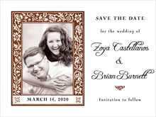 custom save-the-date cards - chocolate - rococo spring (set of 10)