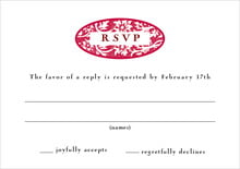 custom response cards - deep red - rococo spring (set of 10)