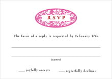 custom response cards - bright pink - rococo spring (set of 10)
