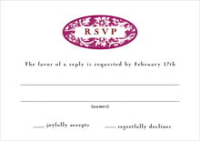 custom response cards - burgundy - rococo spring (set of 10)