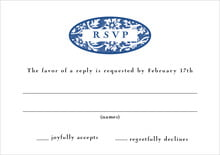 custom response cards - deep blue - rococo spring (set of 10)