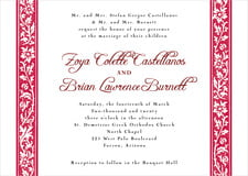 custom invitations - deep red - rococo spring (set of 10)