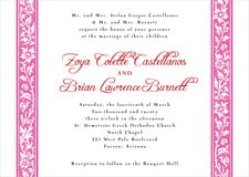 custom invitations - bright pink - rococo spring (set of 10)