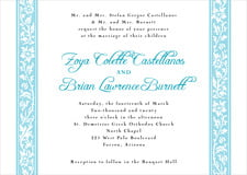custom invitations - bahama blue - rococo spring (set of 10)