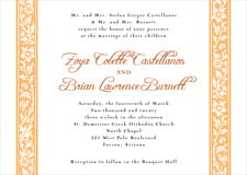 custom invitations - tangerine - rococo spring (set of 10)