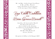custom invitations - burgundy - rococo spring (set of 10)
