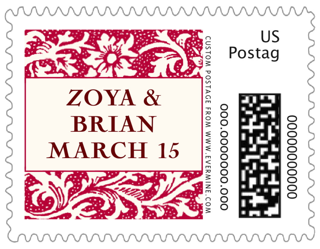 small custom postage stamps - deep red - rococo spring (set of 20)