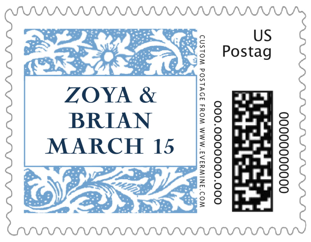 small custom postage stamps - blue - rococo spring (set of 20)