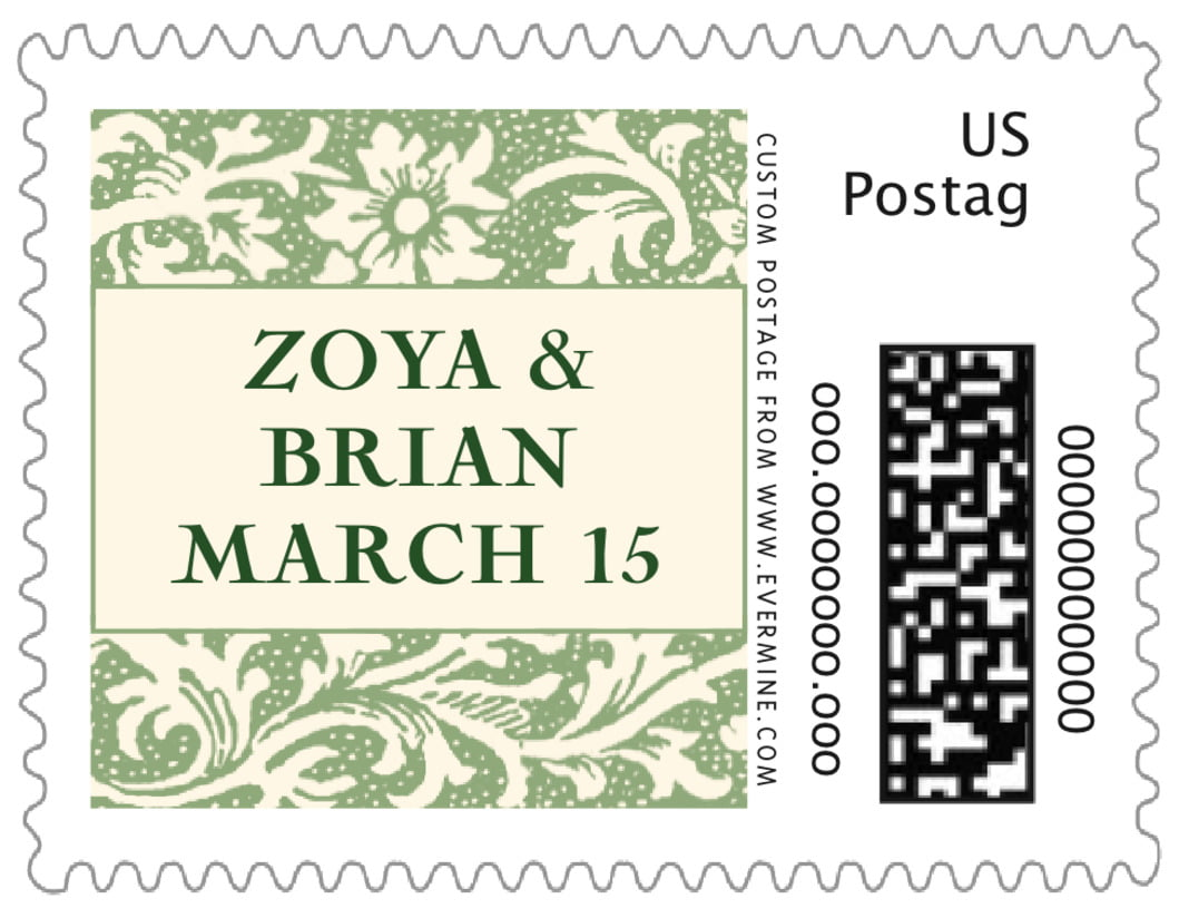 small custom postage stamps - sage - rococo spring (set of 20)
