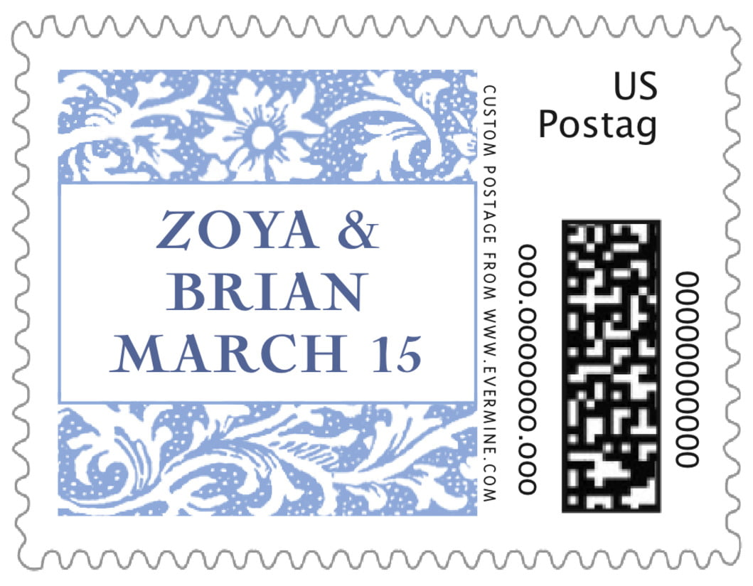 small custom postage stamps - periwinkle - rococo spring (set of 20)