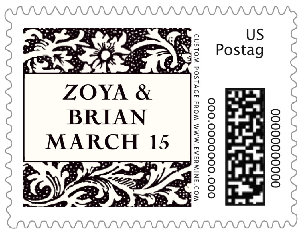 small custom postage stamps - tuxedo - rococo spring (set of 20)