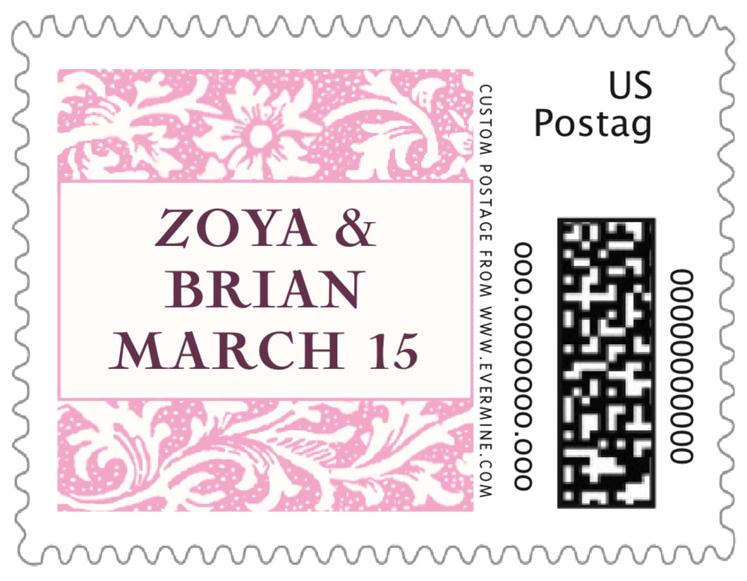 small custom postage stamps - pale pink - rococo spring (set of 20)