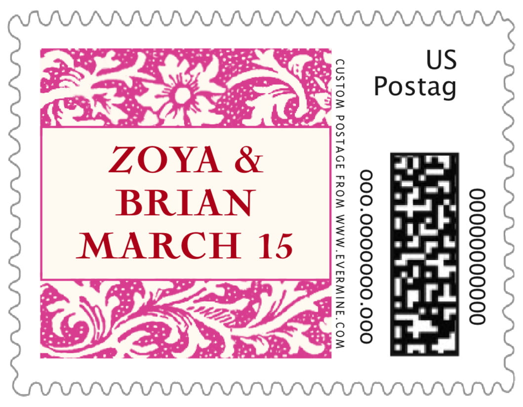 small custom postage stamps - bright pink - rococo spring (set of 20)