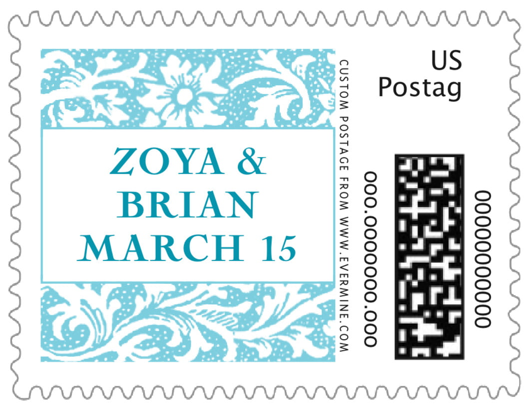 small custom postage stamps - bahama blue - rococo spring (set of 20)
