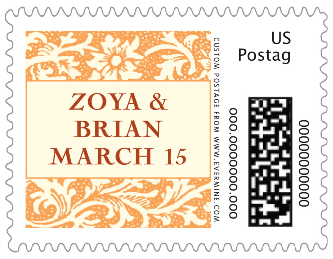 small custom postage stamps - tangerine - rococo spring (set of 20)