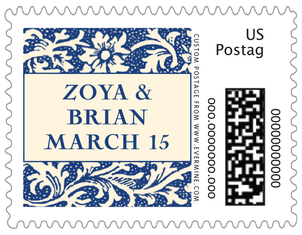 small custom postage stamps - deep blue - rococo spring (set of 20)