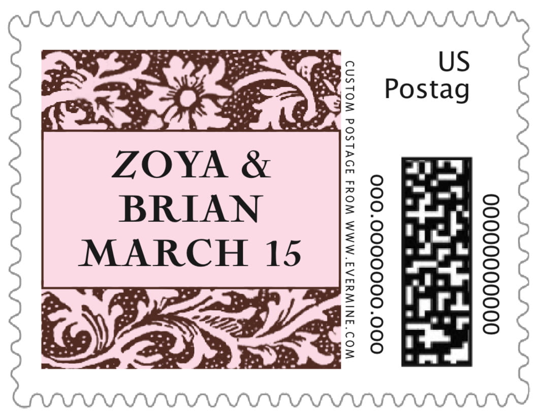 small custom postage stamps - cocoa & pink - rococo spring (set of 20)