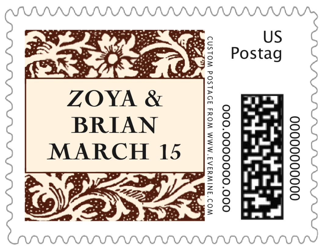 small custom postage stamps - chocolate - rococo spring (set of 20)