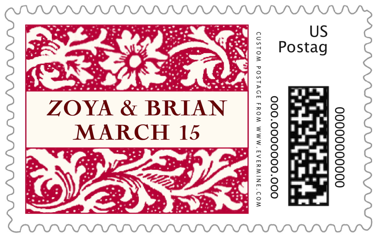 custom large postage stamps - deep red - rococo spring (set of 20)