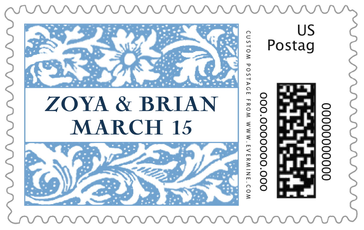 custom large postage stamps - blue - rococo spring (set of 20)