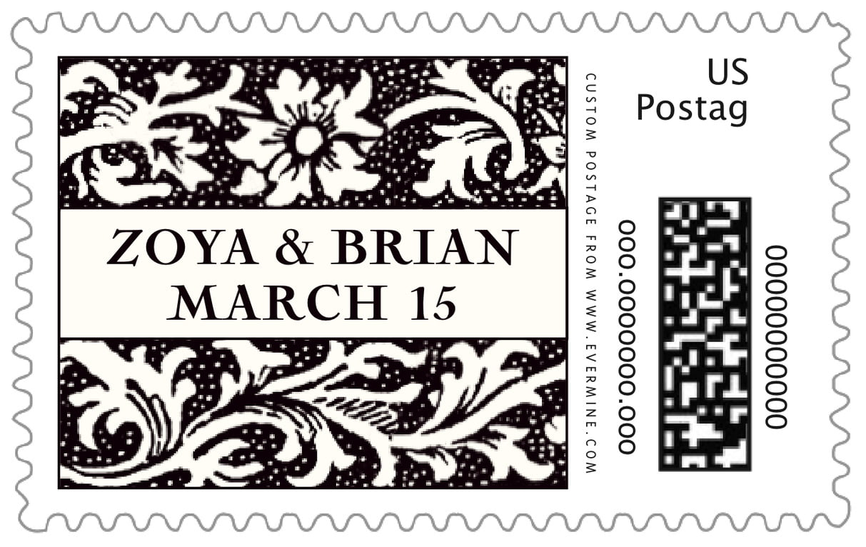 custom large postage stamps - tuxedo - rococo spring (set of 20)