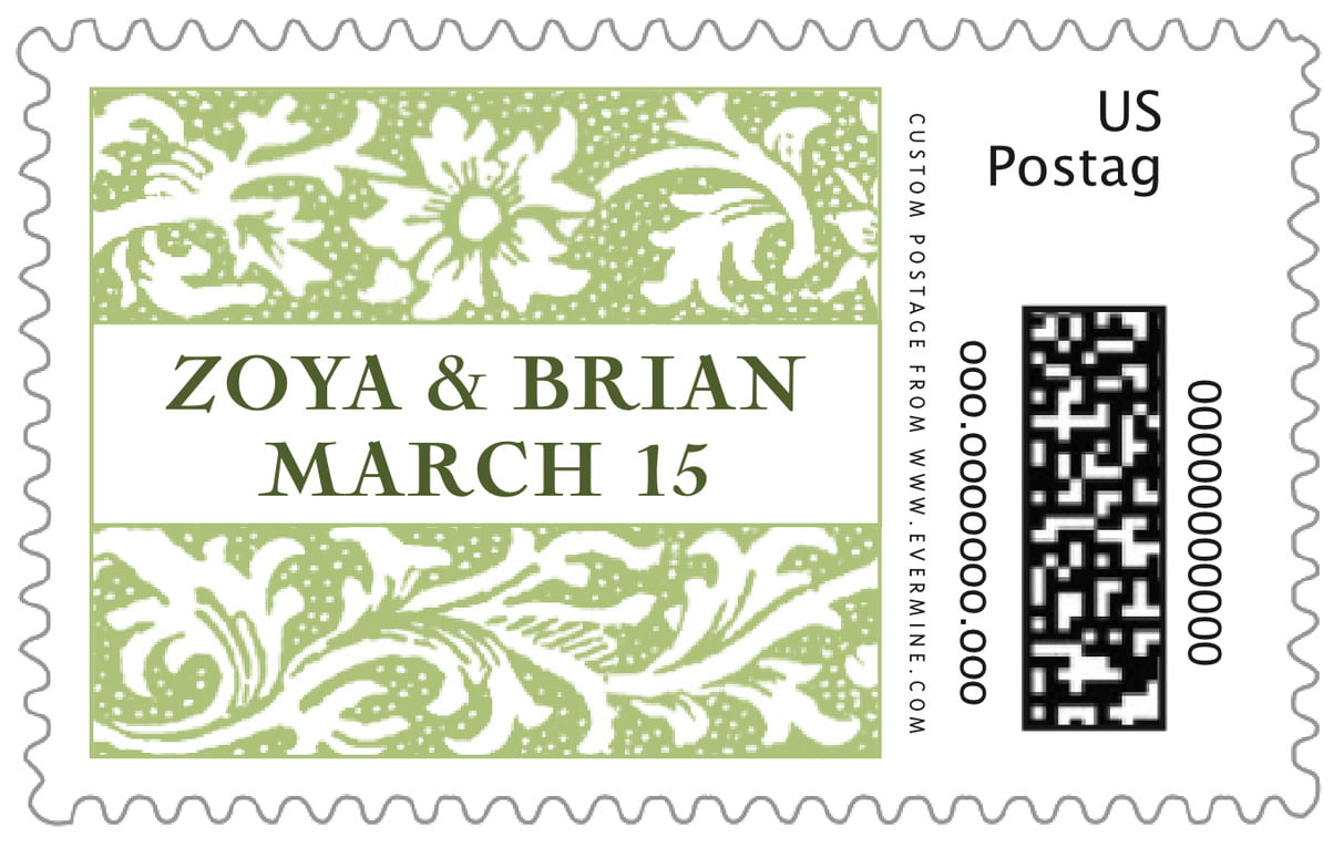 custom large postage stamps - green tea - rococo spring (set of 20)