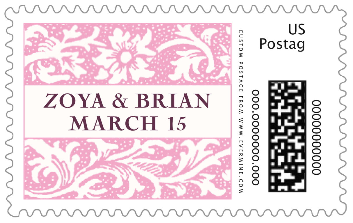 custom large postage stamps - pale pink - rococo spring (set of 20)