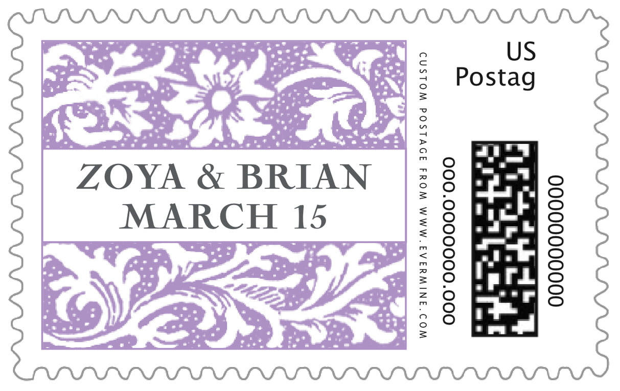 custom large postage stamps - lilac - rococo spring (set of 20)
