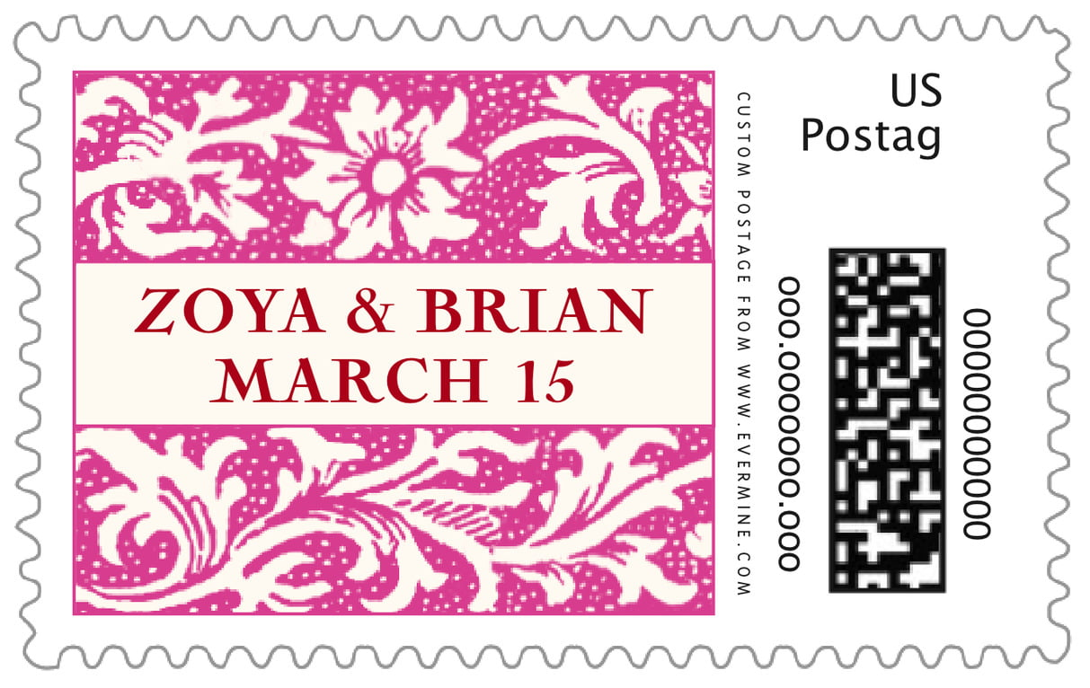 custom large postage stamps - bright pink - rococo spring (set of 20)