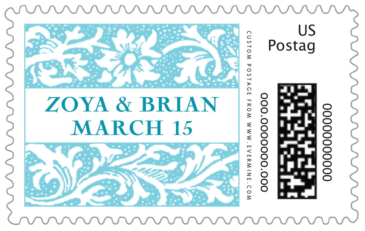 custom large postage stamps - bahama blue - rococo spring (set of 20)
