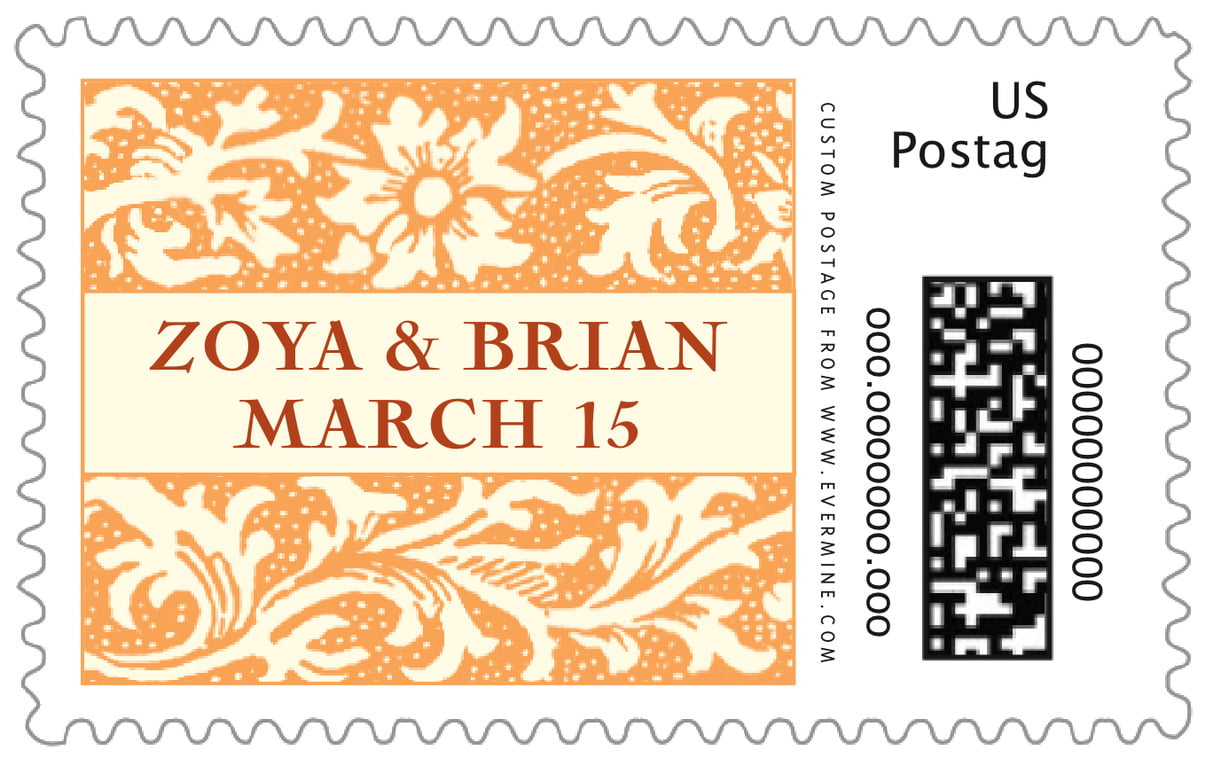 custom large postage stamps - tangerine - rococo spring (set of 20)
