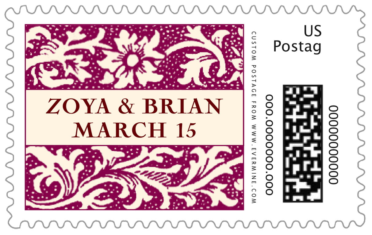 custom large postage stamps - burgundy - rococo spring (set of 20)