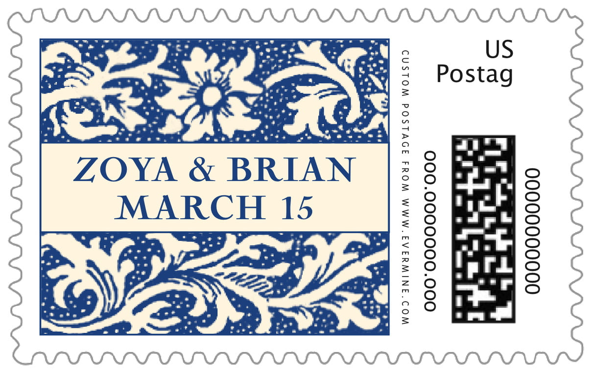 custom large postage stamps - deep blue - rococo spring (set of 20)