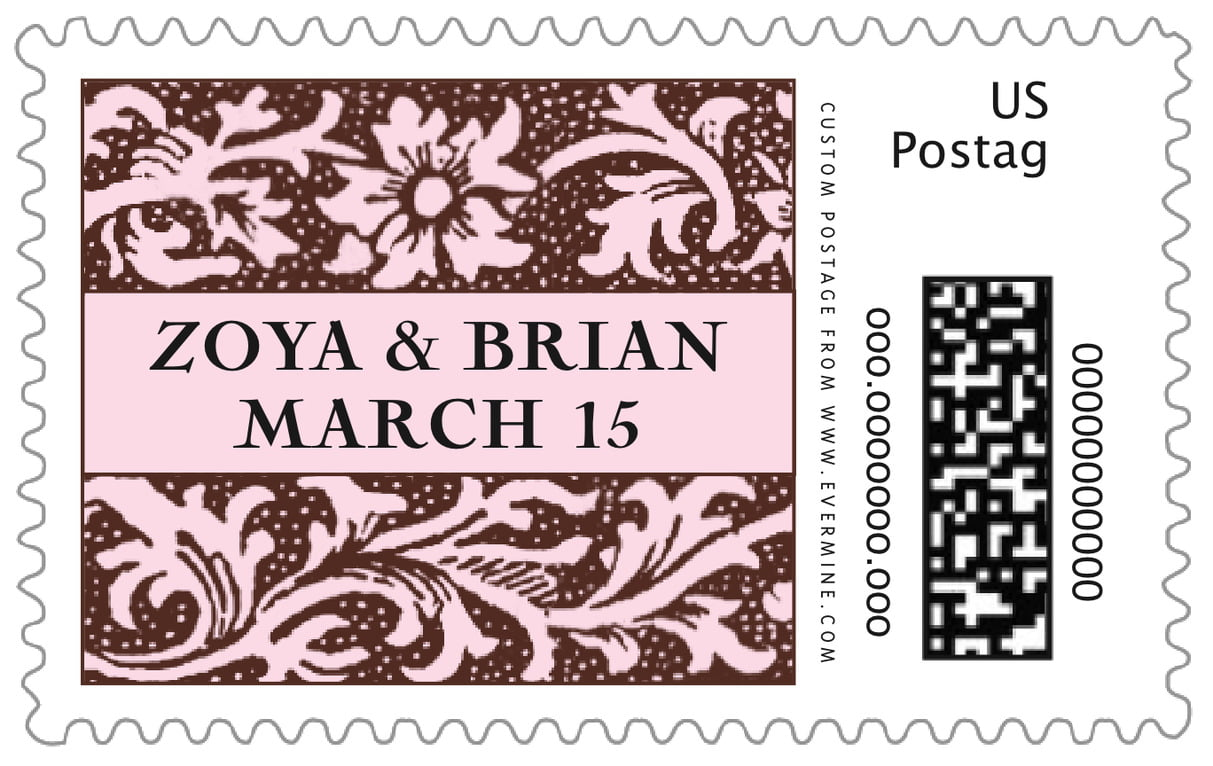 custom large postage stamps - cocoa & pink - rococo spring (set of 20)