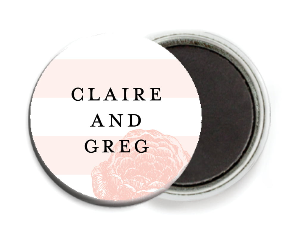 custom button magnets - grapefruit - striped rose (set of 6)