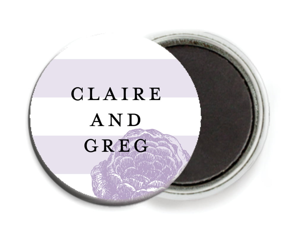 custom button magnets - lilac - striped rose (set of 6)