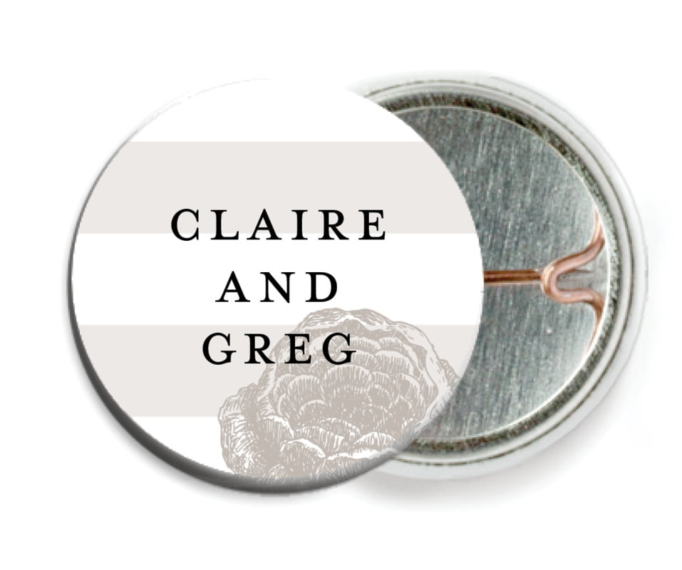 custom pin back buttons - warm grey - striped rose (set of 6)